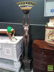 Sale 8554 - Lot 1010 - Bronze Style Lady Figure Standing Up Lamp