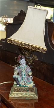 Sale 8746 - Lot 1083 - An early C20th French brass table lamp, mounted with a porcelain figure of a Chinese noble painted in Kangxi colours, seated on clas...