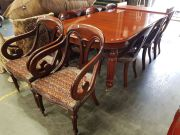 Sale 8942 - Lot 1009 - Reproduction Mahogany Dining Suite incl. Double Leaf Extension Table with 6 chairs and 2 carvers (Table - H: 79, W: 260, D: 114cm)