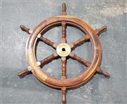 Sale 8976N - Lot 338 - Hardwood Ships Helm with Brass Spindle and 6 Spokes (d:755mm)