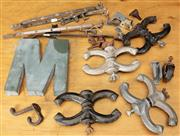 Sale 8984H - Lot 346 - A collection of metal wares including desk top clamps, the letter M, window clasps etc.