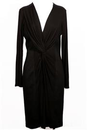 Sale 9029F - Lot 3 - A MAX MARA BLACK WOOL JERSEY DRESS; cross over with scoop neckline, made in Italy, size EUR 46.