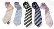 Sale 9080F - Lot 44 - FIVE ITALIAN AND FRENCH SILK TIES; with geometric weave, Charvet silver and blue diagonal strip, St George Milano navy with silver a...