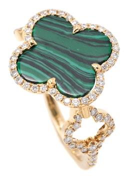 Sale 9149 - Lot 534 - AN 18CT GOLD DIAMOND AND STONE SET RING; centring a quatrefoil shape faux malachite plaque to surround and repeated shape shoulders...