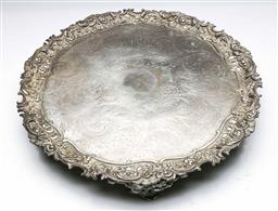 Sale 9164 - Lot 468 - Large ornate silver plated serving tray (Dia:50cm)