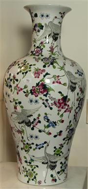 Sale 7969 - Lot 96 - A tall polychrome vase depicting floral bursts and cranes with character mark to base,  height 66cm