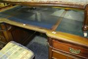 Sale 8129 - Lot 1016 - Partners Desk With Leather Top (Small Damage To Door, drawer missing)