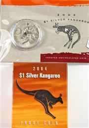 Sale 8299C - Lot 519 - ROYAL AUSTRALIAN MINT SILVER KANGAROO COIN ISSUES; 2004 Proof $1 coin and a 2004 Uncirculated $1 coin, each 1 ounce fine silver, in...