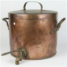 Sale 8351A - Lot 39 - Vintage French Copper Lidded Boiling Pot with Impressed Mark 'R.W' and Brass Tap diameter 35cm depth 31cm(approx weight 10kg)