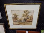 Sale 8471 - Lot 2029 - E. Thomas Landscape, watercolour (AF), 19 x 24cm, signed lower right -