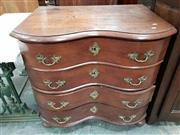 Sale 8728 - Lot 1006 - Possibly Late 18th Century Continental Oak Chest of Four Drawers, with serpentine front & rococo brass escutcheon & handles, on bun...