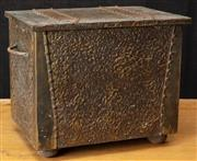 Sale 8984H - Lot 347 - A copper clad timber coal box. 47cm width