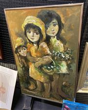 Sale 9004 - Lot 2023 - Artist Unknown Children Picking Wildflowers oil on board, 92 x 60cm (frame) signed