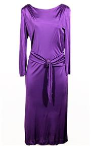 Sale 9029F - Lot 18 - AN EMILIO PUCCI PURPLE WIGGLE DRESS IN THE MARILYN MONROE STYLE; model no.16R171, includes fabric belt with gold tone buckle,100% vi...