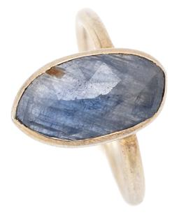 Sale 9128J - Lot 38 - A SILVER SAPPHIRE RING; handmade modernist design rub set with chequerboard cut blue sapphire (15.20 x 7.96mm) on a 2mm full round b...