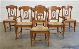 Sale 9174 - Lot 1297 - Set of 6 Baltic pine dining chairs with rush seats (h:98 x w:57 x d:48cm)