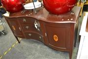 Sale 8115 - Lot 1409 - Inlaid Serpentine Front Sideboard w 3 Drawers