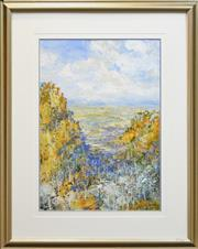 Sale 8257A - Lot 4 - Peter Mcqueeney (1943 - ) - View of Valley Cliffs 69.5 x 48.5cm