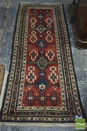 Sale 8335 - Lot 1052 - Unusual Vintage Persian Wool Runner, with five cruciform medallions on red ground  (218 x 86 cm)