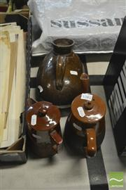 Sale 8407T - Lot 2401 - Stoneware Coffee Pot, Tea Pot & Water Vessel, one marked IQT (AF)