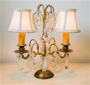 Sale 8500A - Lot 98 - An early Mid Century French twin lamp girandole with bell lamp shades and French crystal pendalogues - Measurements: 32cm wide x 38c...