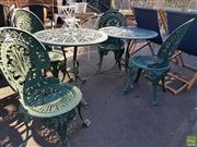 Sale 8566 - Lot 1434 - Set of Four Cast Alloy Chairs & Two Matching Tables (6)