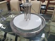 Sale 8741 - Lot 1076 - Art Deco UFO Chrome Framed Ceiling Light with Glass Shade