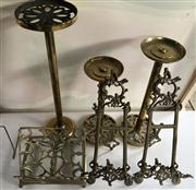 Sale 8774A - Lot 380 - An assortment of brass candle stands, bookstands and easels