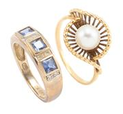 Sale 8879 - Lot 313 - TWO GOLD GEMSTONE RINGS; one set with a cultured pearl in 18ct gold, size L, wt. 2.95g, other with blue topaz and single cut diamond...