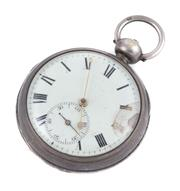 Sale 8879 - Lot 356 - A STERLING SILVER VERGE POCKET WATCH; white enamel dial damaged around 3 oclock, Roman numerals, subsidiary seconds, fusee movement...