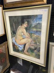 Sale 9004 - Lot 2014 - Artist Unknown The Bather (After Renoir)pastel on paper, 80 x 70cm (frame) unsigned