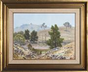 Sale 9055A - Lot 5090 - Allan Fizzell (1944 - ) - Morning Haze over the Turon River, 1977 36.5 x 49.5 cm (frame: 57 x 70 x 4 cm)
