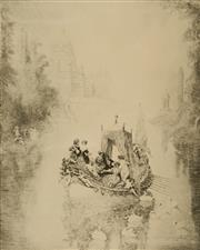 Sale 9084A - Lot 5076 - Norman Lindsay (1879 - 1969) - The Happy Barge 32 x 25.5 cm (frame: 67 x 57 x 3 cm)
