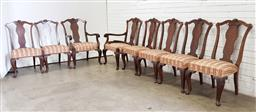 Sale 9102 - Lot 1130 - Set of 8 walnut dining chairs inc 2 carvers, one arm broken (h:107 x w:60 x d:50cm)