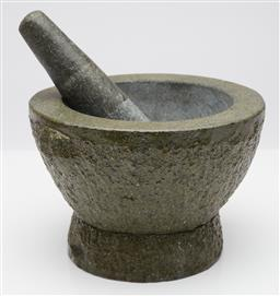 Sale 9123J - Lot 368 - A large and heavy granite double handle mortar and pestle, mortar Ht: 14cm x 23cm