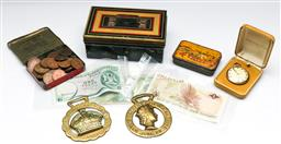 Sale 9164 - Lot 414 - Collection of various coins and medallions, badges and notes inc pennies, commemorative and others