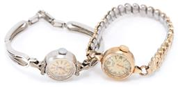 Sale 9186 - Lot 359 - TWO LADYS VINTAGE 9CT GOLD CYPRUS DELUXE WRISTWATCHES; 17 jewel manual movements, one in white gold case set with 6 single cut diam...