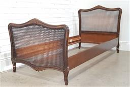 Sale 9174 - Lot 1288 - French single bed frame with rattan head and sides (h:97 x w:95 x d:190cm)