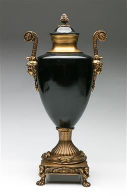 Sale 9192 - Lot 30 - A Classical Style Bronze Lidded Urn on Angelic Base (H:45cm)