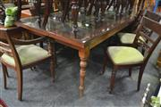 Sale 8277 - Lot 1034 - Carved Timber Dining Suite incl. Eight Chairs on Fluted Legs and An Anglo Indian Dining Table