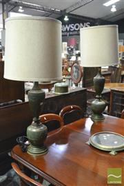 Sale 8359 - Lot 1088 - Pair of Italian Patinated Brass Table Lamps, with archaic Chinese style bands & Shades