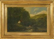 Sale 8459 - Lot 579 - Attributed George Percy (XIX - XX) - Fishing by the Stream 29 x 44.5cm