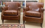 Sale 8550H - Lot 83 - A pair of dark brown leather tub armchairs with scroll arms and brass stud details, on castors, W 79 x D 80cm