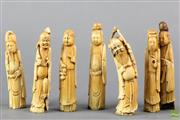 Sale 8621 - Lot 34 - Group of Seven Late Qing/ Early Republic Chinese Ivory Carvings of Immortals