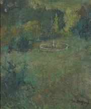 Sale 8755 - Lot 595 - Ina Gregory (1874 - 1964) - Verdant Garden with Fountain 31 x 26cm
