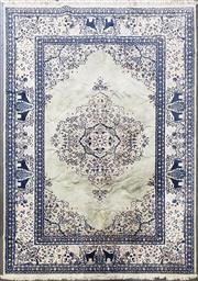 Sale 8959 - Lot 1058 - Blue & Cream Tone Carpet With African Safari Border & Central Medallion ( 290 x 200cm)