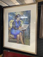 Sale 9061 - Lot 2075 - Helen Sharp Woman Reading, pastel , frame: 82 x 66 cm, signed lower right -