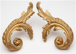 Sale 9123J - Lot 357 - A pair of large scroll and floral gilt curtain tie backs. L: 31cm