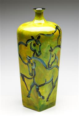 Sale 9253 - Lot 4 - A large handpainted lime green vase featuring horses (H:42.5cm)