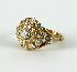 Sale 3701 - Lot 458 - AN 18CT YELLOW GOLD DIAMOND CLUSTER RING;